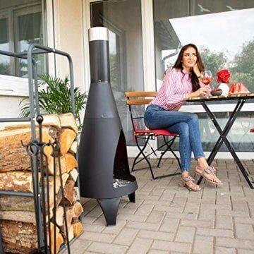 Relaxdays Kaminholzregal, Holzscheite Stapelhilfe, aus Stahl, innen und außen, Brennholzregal, HxB 100x40 cm, anthrazit - 3