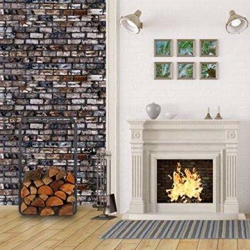 Relaxdays Kaminholzregal, Holzscheite Stapelhilfe, aus Stahl, innen und außen, Brennholzregal, HxB 100x40 cm, anthrazit - 4