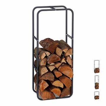 Relaxdays Kaminholzregal, Holzscheite Stapelhilfe, aus Stahl, innen und außen, Brennholzregal, HxB 100x40 cm, anthrazit - 1